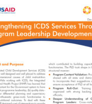 Strengthening ICDS Services Through  Program Leadership Development